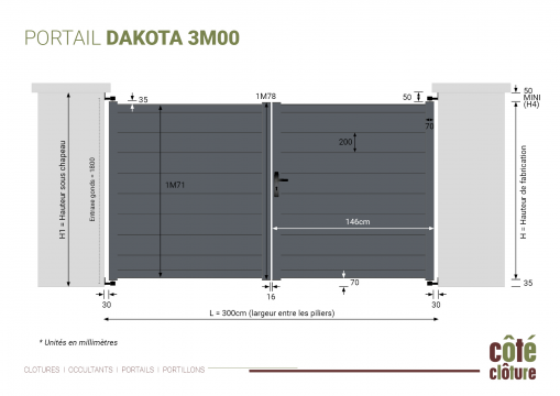 Portail Aluminium Dakota H 1m78 - P 3m