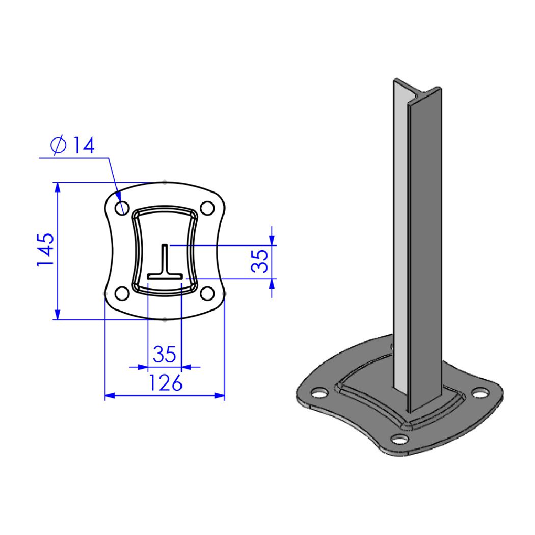 Schéma de platine pour poteau à encoches Wiclos