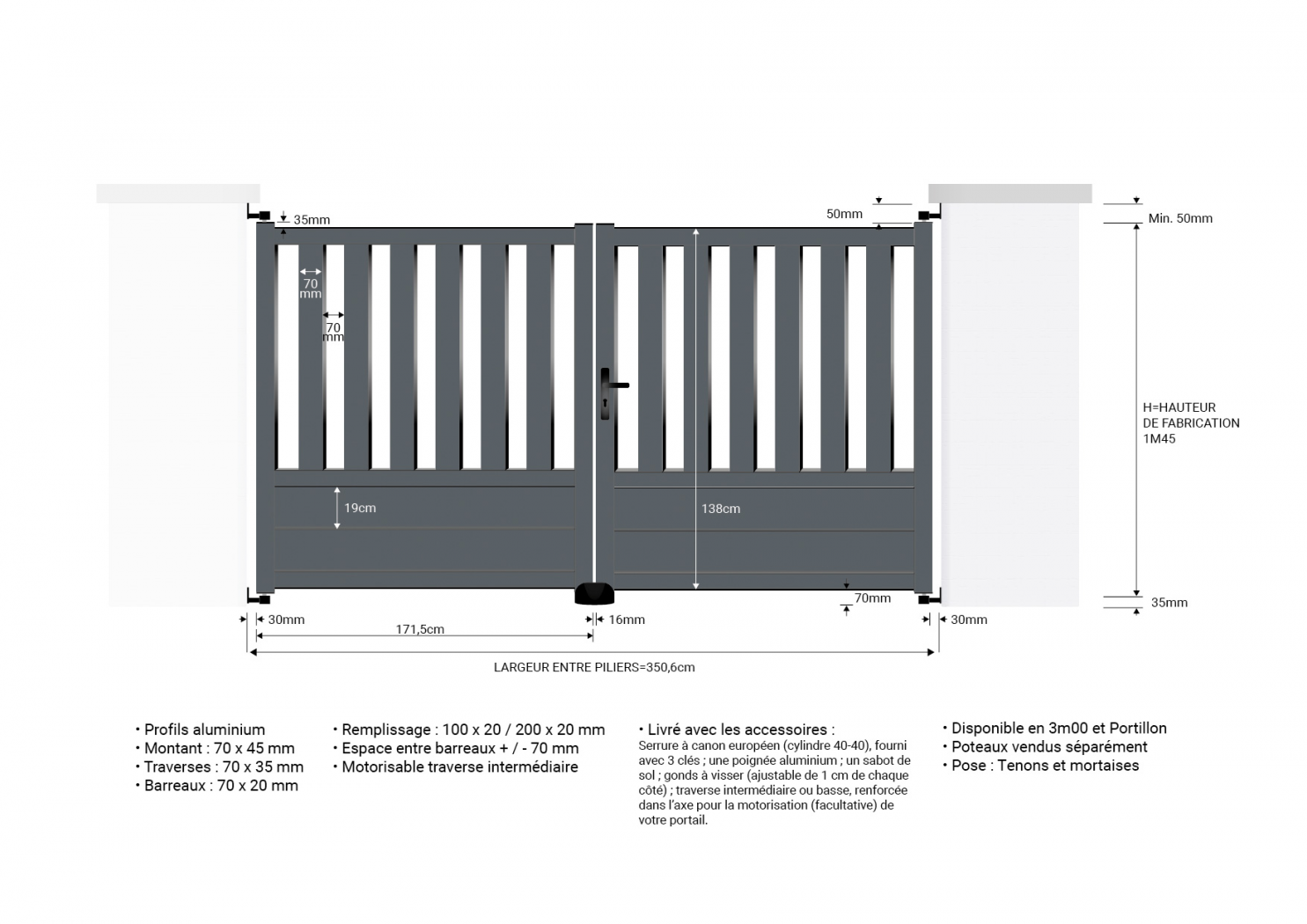 Portail aluminium P3m50