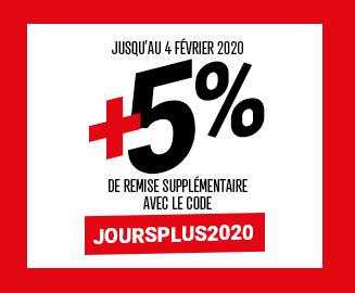 Bénéficiez de 5% de remise supplémentaire avec le code JOURSPLUS2020 - jusqu'au 04/02/2020